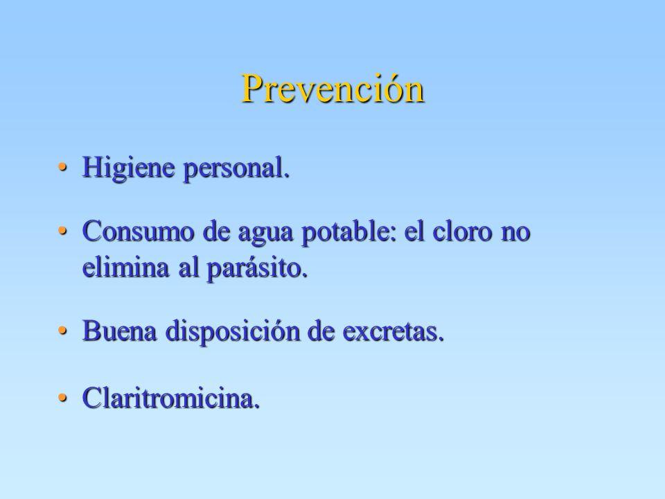 Prevención Higiene personal.Higiene personal. Consumo de agua potable: el cloro no elimina al parásito.Consumo de agua potable: el cloro no elimina al