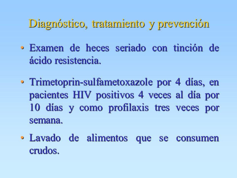 Diagnóstico, tratamiento y prevención Examen de heces seriado con tinción de ácido resistencia.Examen de heces seriado con tinción de ácido resistenci