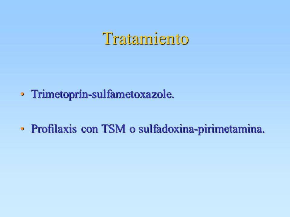 Tratamiento Trimetoprín-sulfametoxazole.Trimetoprín-sulfametoxazole. Profilaxis con TSM o sulfadoxina-pirimetamina.Profilaxis con TSM o sulfadoxina-pi