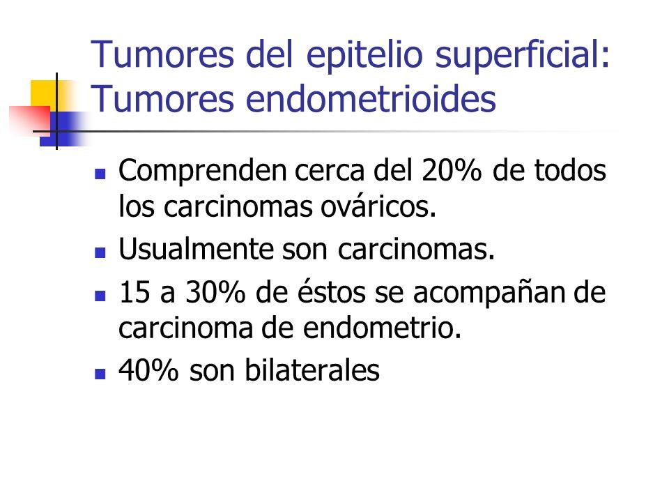 Tumores del epitelio superficial: Tumores endometrioides Comprenden cerca del 20% de todos los carcinomas ováricos. Usualmente son carcinomas. 15 a 30