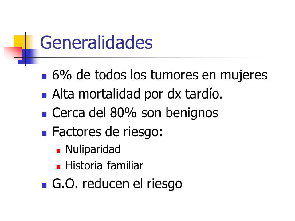 Generalidades 6% de todos los tumores en mujeres Alta mortalidad por dx tardío. Cerca del 80% son benignos Factores de riesgo: Nuliparidad Historia fa