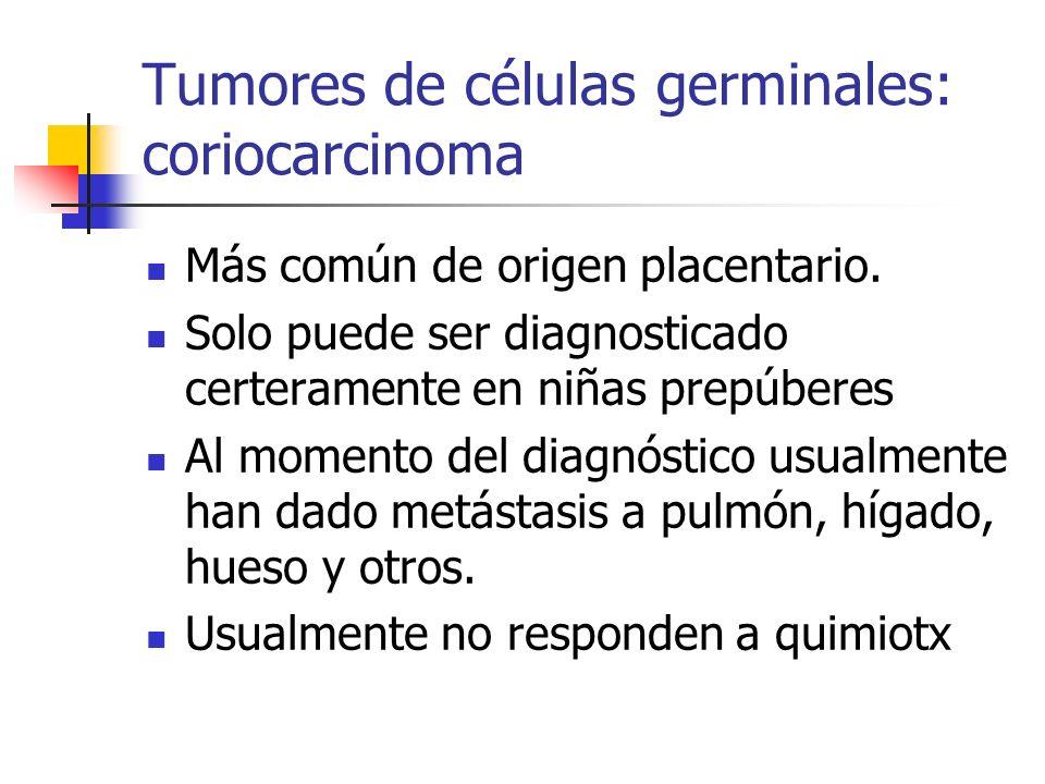Tumores de células germinales: coriocarcinoma Más común de origen placentario. Solo puede ser diagnosticado certeramente en niñas prepúberes Al moment