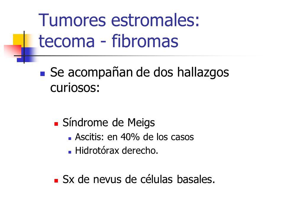 Tumores estromales: tecoma - fibromas Se acompañan de dos hallazgos curiosos: Síndrome de Meigs Ascitis: en 40% de los casos Hidrotórax derecho. Sx de