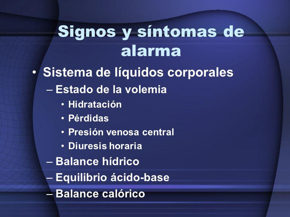 Signos y síntomas de alarma Sistema de líquidos corporales –Estado de la volemia Hidratación Pérdidas Presión venosa central Diuresis horaria –Balance