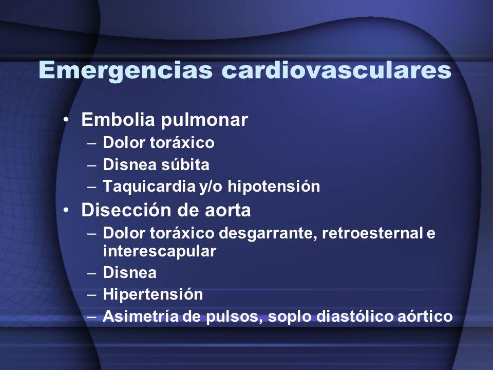 Emergencias cardiovasculares Embolia pulmonar –Dolor toráxico –Disnea súbita –Taquicardia y/o hipotensión Disección de aorta –Dolor toráxico desgarran