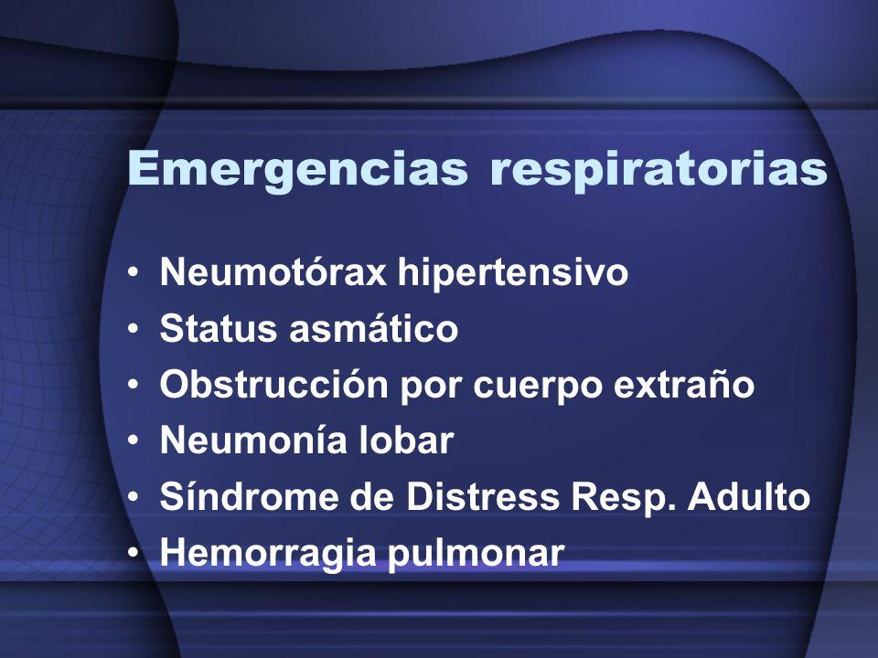 Emergencias respiratorias Neumotórax hipertensivo Status asmático Obstrucción por cuerpo extraño Neumonía lobar Síndrome de Distress Resp. Adulto Hemo