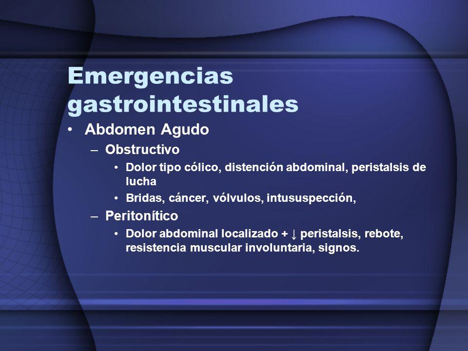 Emergencias gastrointestinales Abdomen Agudo –Obstructivo Dolor tipo cólico, distención abdominal, peristalsis de lucha Bridas, cáncer, vólvulos, intu