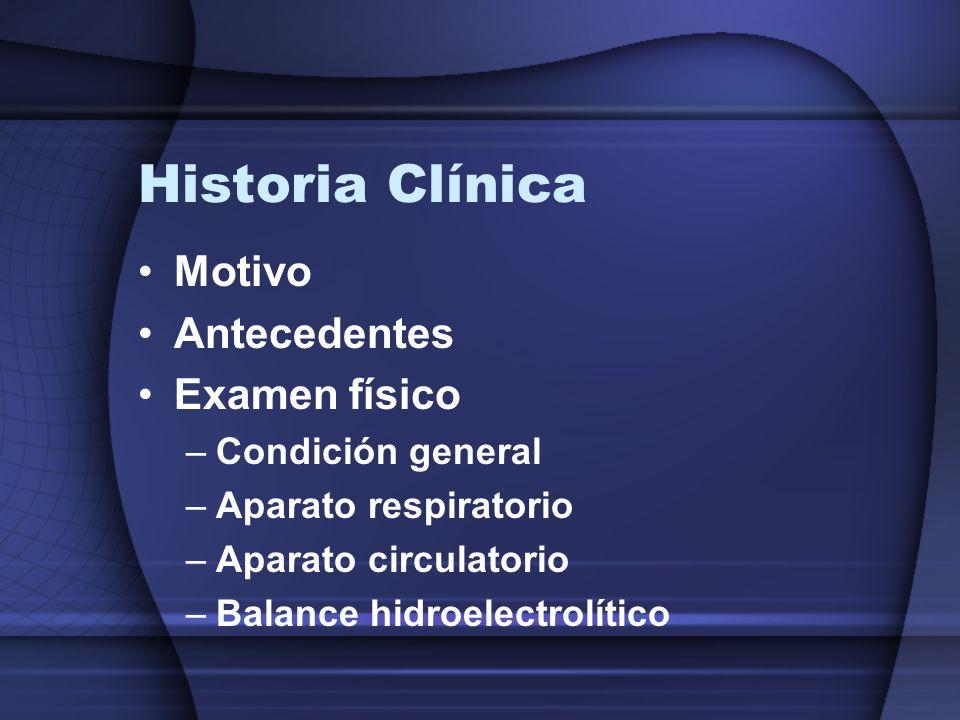 Historia Clínica Motivo Antecedentes Examen físico –Condición general –Aparato respiratorio –Aparato circulatorio –Balance hidroelectrolítico