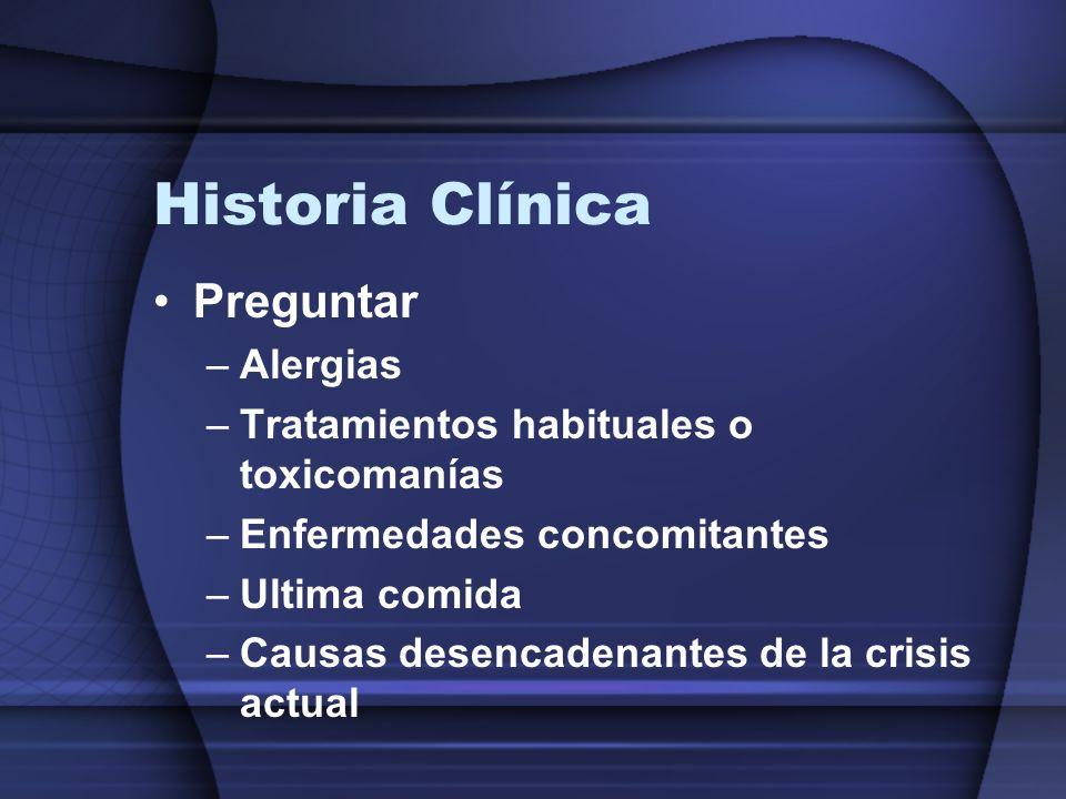 Historia Clínica Preguntar –Alergias –Tratamientos habituales o toxicomanías –Enfermedades concomitantes –Ultima comida –Causas desencadenantes de la