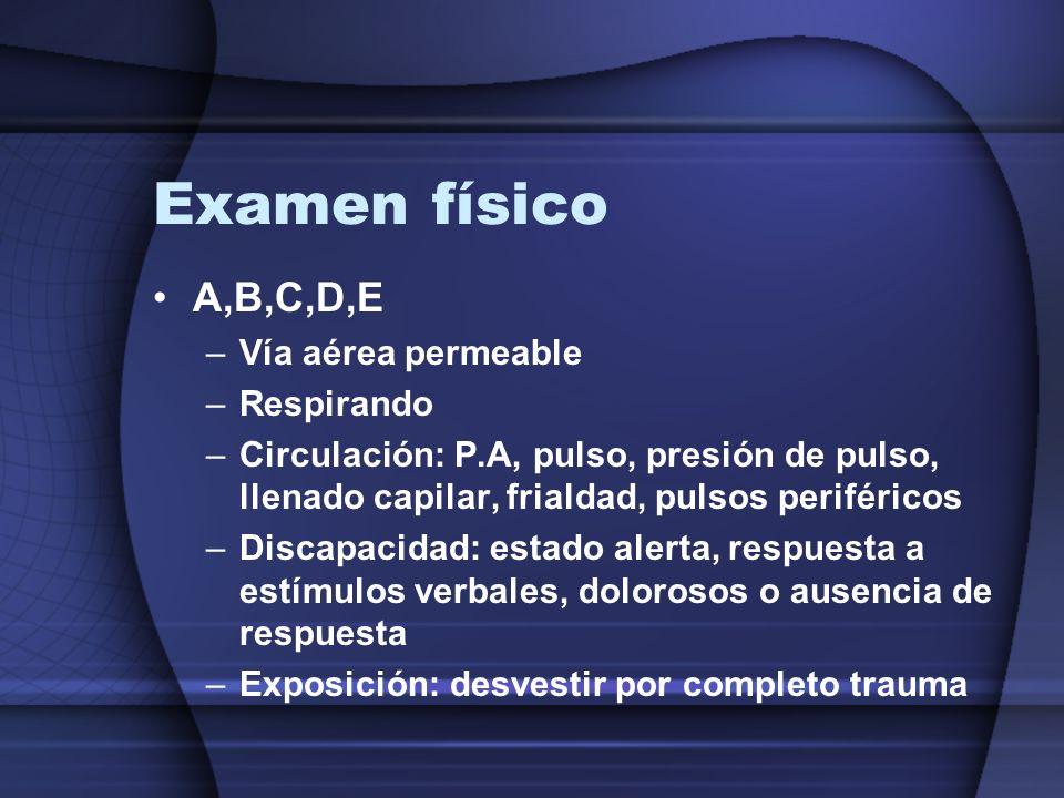 Examen físico A,B,C,D,E –Vía aérea permeable –Respirando –Circulación: P.A, pulso, presión de pulso, llenado capilar, frialdad, pulsos periféricos –Di