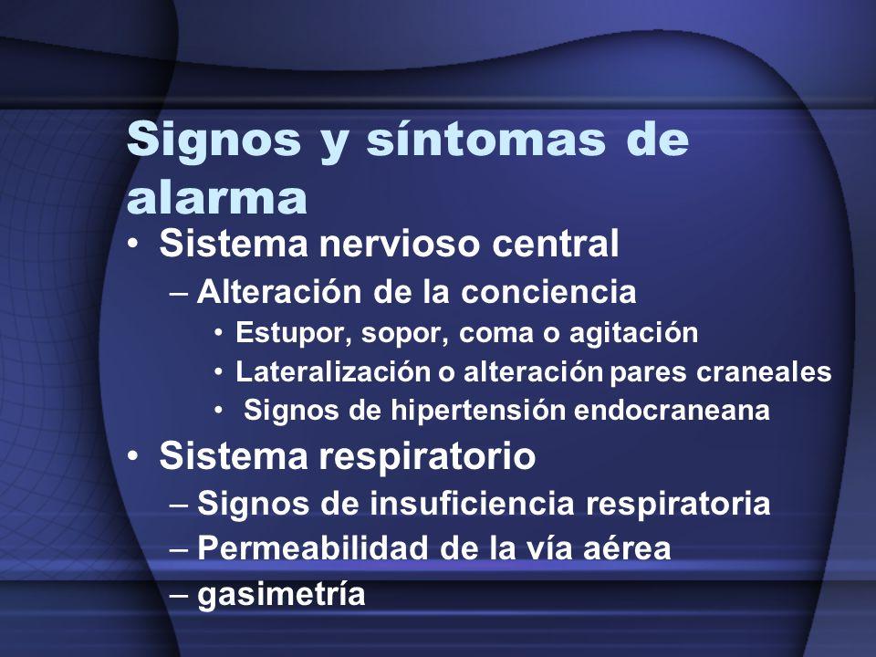Signos y síntomas de alarma Sistema nervioso central –Alteración de la conciencia Estupor, sopor, coma o agitación Lateralización o alteración pares c