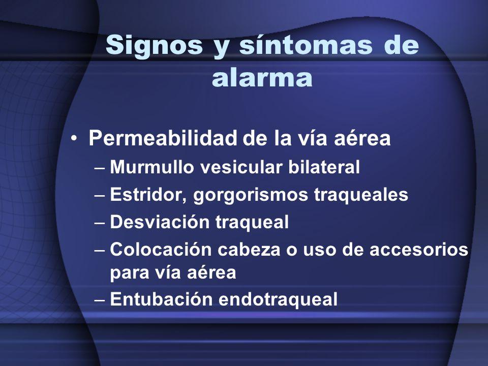 Signos y síntomas de alarma Permeabilidad de la vía aérea –Murmullo vesicular bilateral –Estridor, gorgorismos traqueales –Desviación traqueal –Coloca