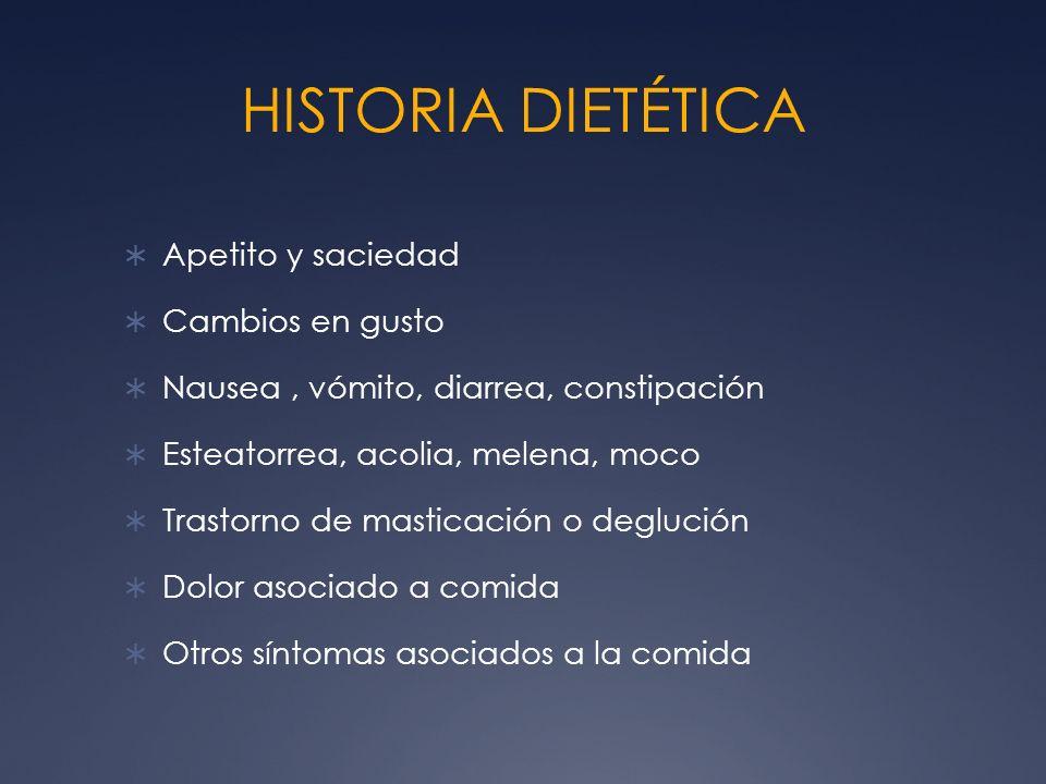 HISTORIA DIETÉTICA Apetito y saciedad Cambios en gusto Nausea, vómito, diarrea, constipación Esteatorrea, acolia, melena, moco Trastorno de masticació