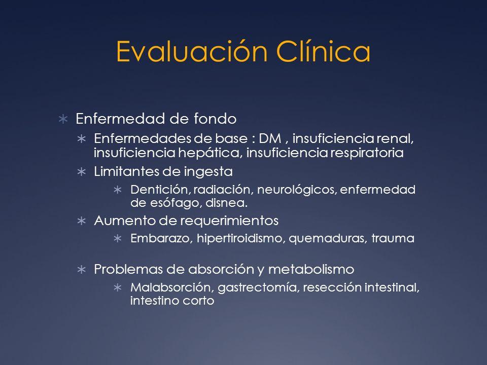 Evaluación Clínica Enfermedad de fondo Enfermedades de base : DM, insuficiencia renal, insuficiencia hepática, insuficiencia respiratoria Limitantes d