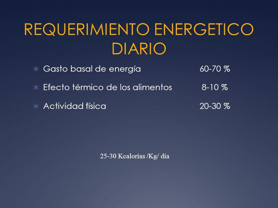 REQUERIMIENTO ENERGETICO DIARIO Gasto basal de energía60-70 % Efecto térmico de los alimentos 8-10 % Actividad física20-30 % 25-30 Kcalorías /Kg/ día