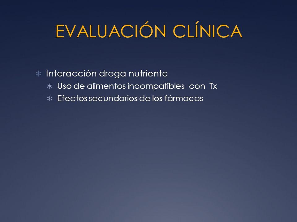EVALUACIÓN CLÍNICA Interacción droga nutriente Uso de alimentos incompatibles con Tx Efectos secundarios de los fármacos