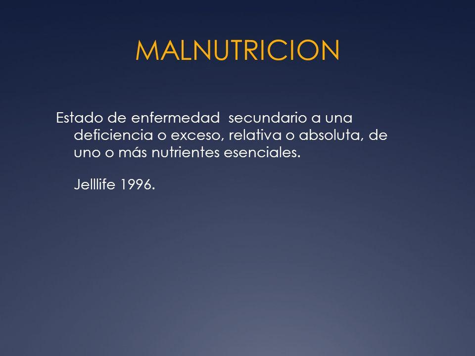 MALNUTRICION Estado de enfermedad secundario a una deficiencia o exceso, relativa o absoluta, de uno o más nutrientes esenciales. Jelllife 1996.