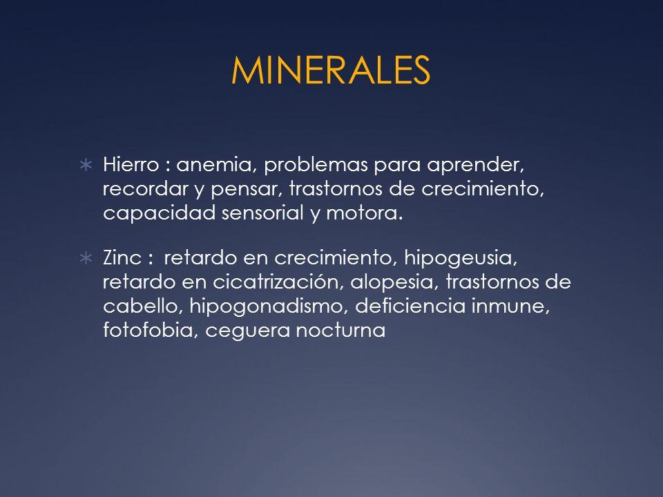 MINERALES Hierro : anemia, problemas para aprender, recordar y pensar, trastornos de crecimiento, capacidad sensorial y motora. Zinc : retardo en crec