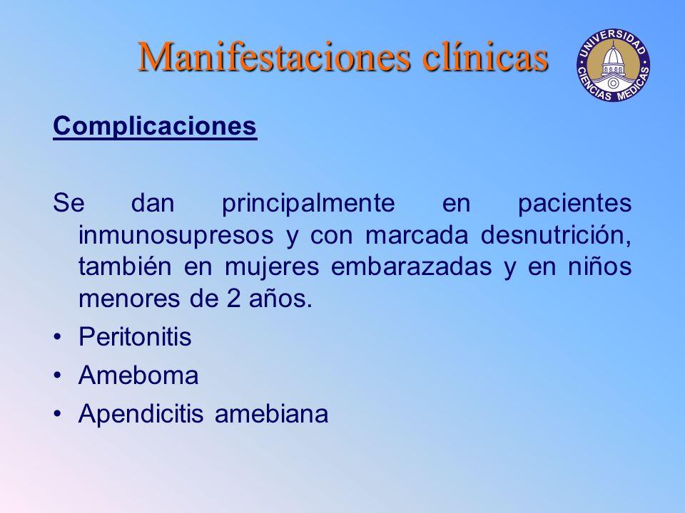 Manifestacionesclínicas Manifestaciones clínicas Complicaciones Se dan principalmente en pacientes inmunosupresos y con marcada desnutrición, también