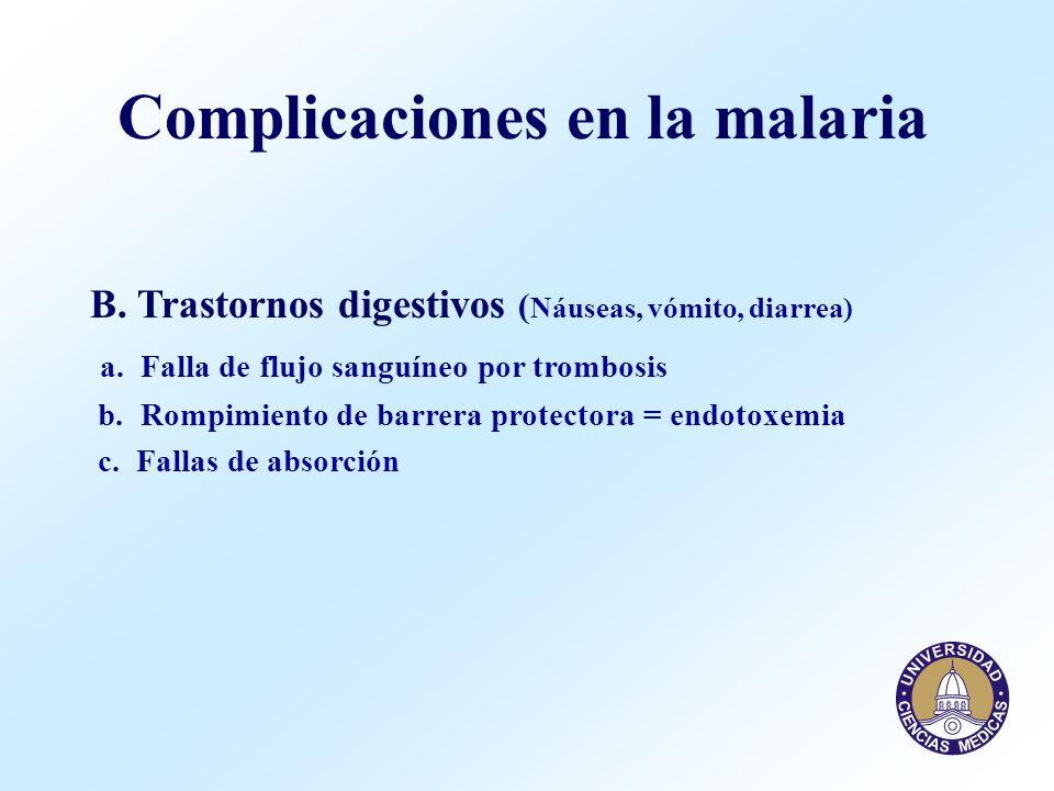 B. Trastornos digestivos ( Náuseas, vómito, diarrea) a. Falla de flujo sanguíneo por trombosis b. Rompimiento de barrera protectora = endotoxemia c. F