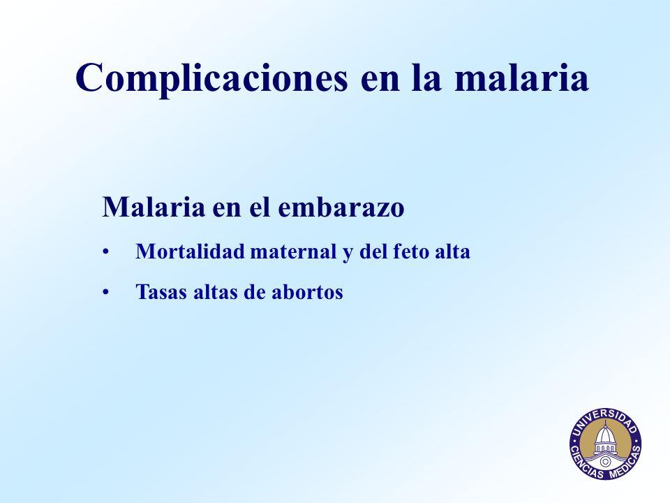 Complicaciones en la malaria Malaria en el embarazo Mortalidad maternal y del feto alta Tasas altas de abortos