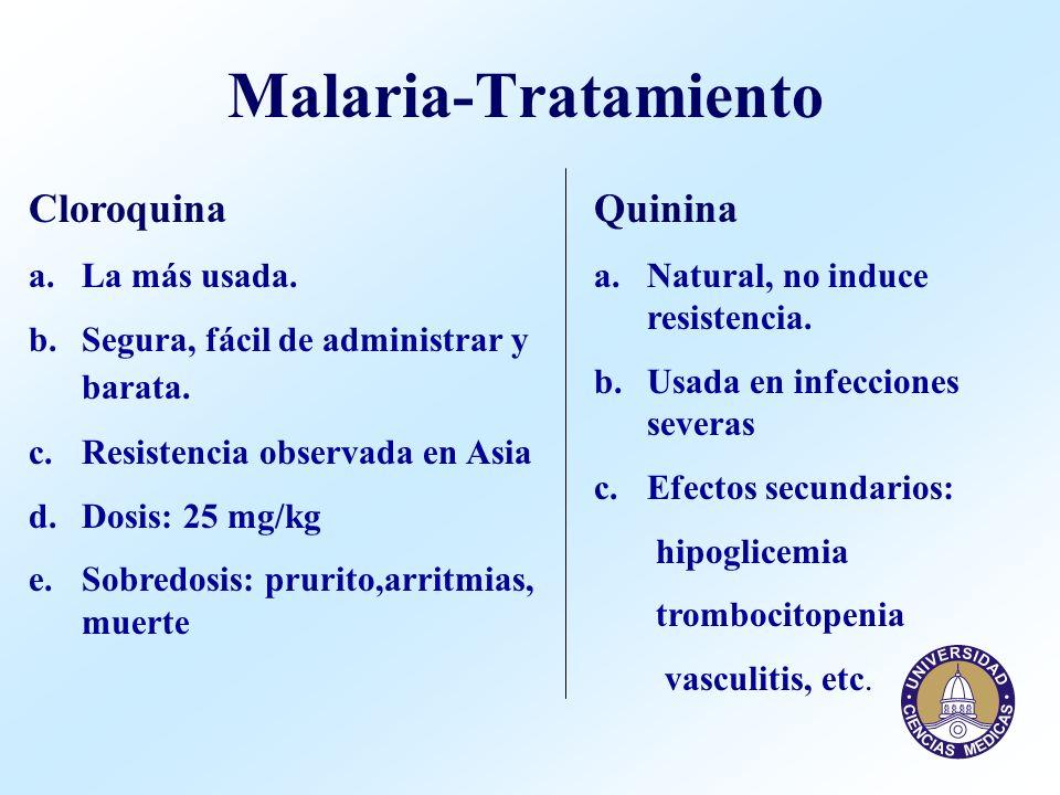 Malaria-Tratamiento Cloroquina a.La más usada. b.Segura, fácil de administrar y barata. c.Resistencia observada en Asia d.Dosis: 25 mg/kg e.Sobredosis