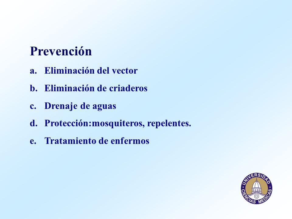 Prevención a.Eliminación del vector b.Eliminación de criaderos c.Drenaje de aguas d.Protección:mosquiteros, repelentes. e.Tratamiento de enfermos