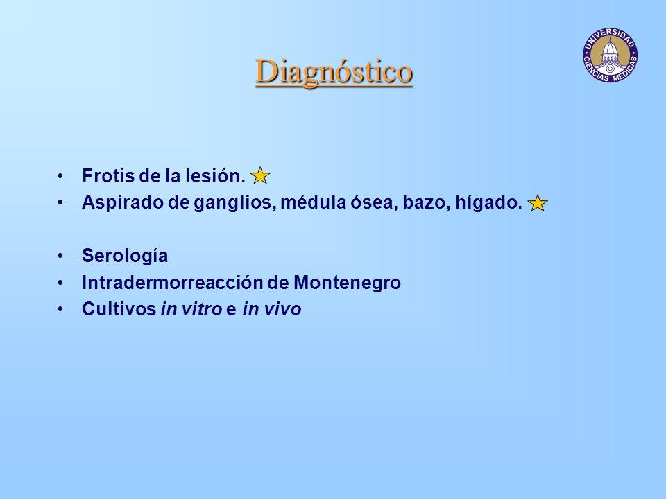 Diagnóstico Frotis de la lesión. Aspirado de ganglios, médula ósea, bazo, hígado. Serología Intradermorreacción de Montenegro Cultivos in vitro e in v