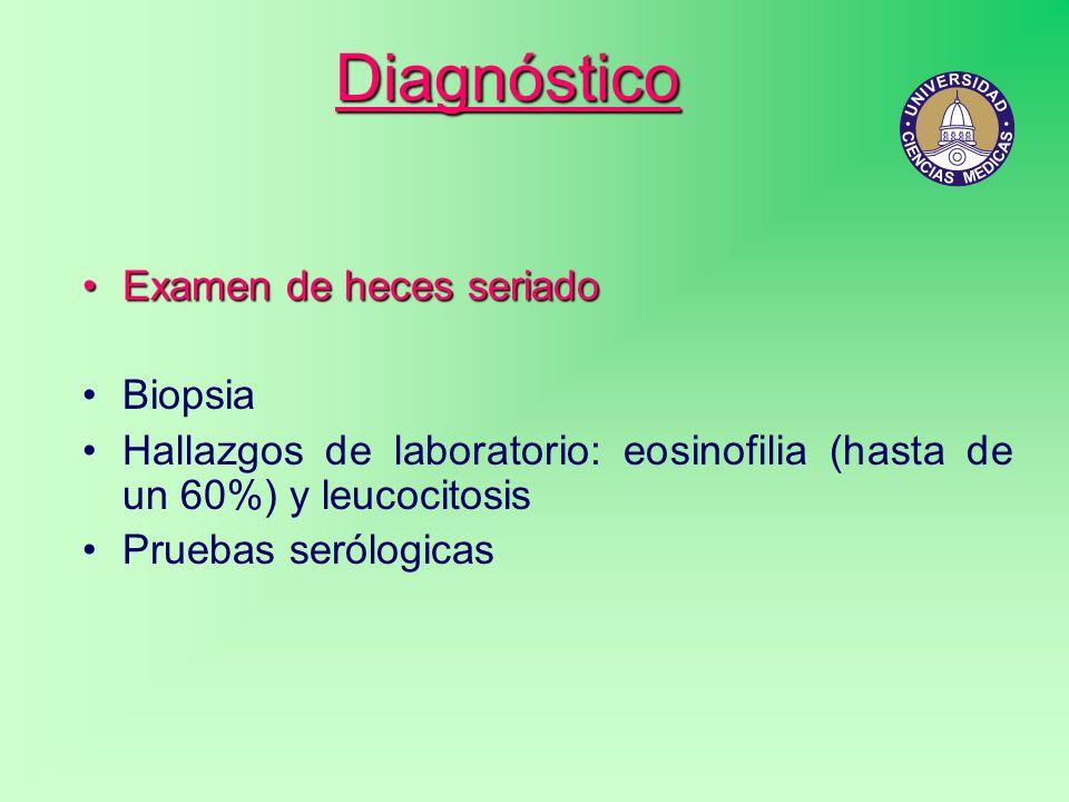 Diagnóstico Examen de heces seriadoExamen de heces seriado Biopsia Hallazgos de laboratorio: eosinofilia (hasta de un 60%) y leucocitosis Pruebas seró
