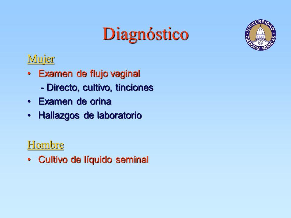 Diagnóstico Mujer Examen de flujo vaginalExamen de flujo vaginal - Directo, cultivo, tinciones - Directo, cultivo, tinciones Examen de orinaExamen de