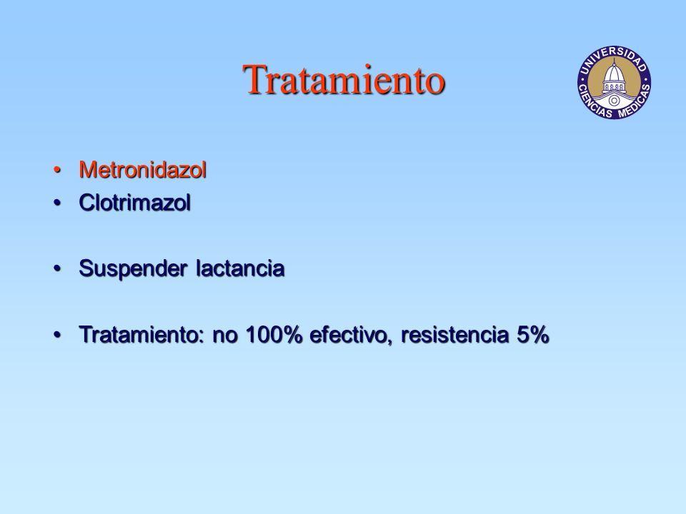 Tratamiento MetronidazolMetronidazol ClotrimazolClotrimazol Suspender lactanciaSuspender lactancia Tratamiento: no 100% efectivo, resistencia 5%Tratam