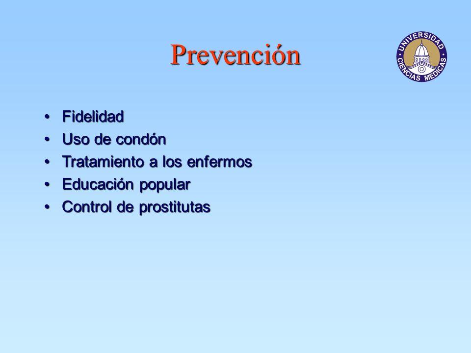 Prevención FidelidadFidelidad Uso de condónUso de condón Tratamiento a los enfermosTratamiento a los enfermos Educación popularEducación popular Contr
