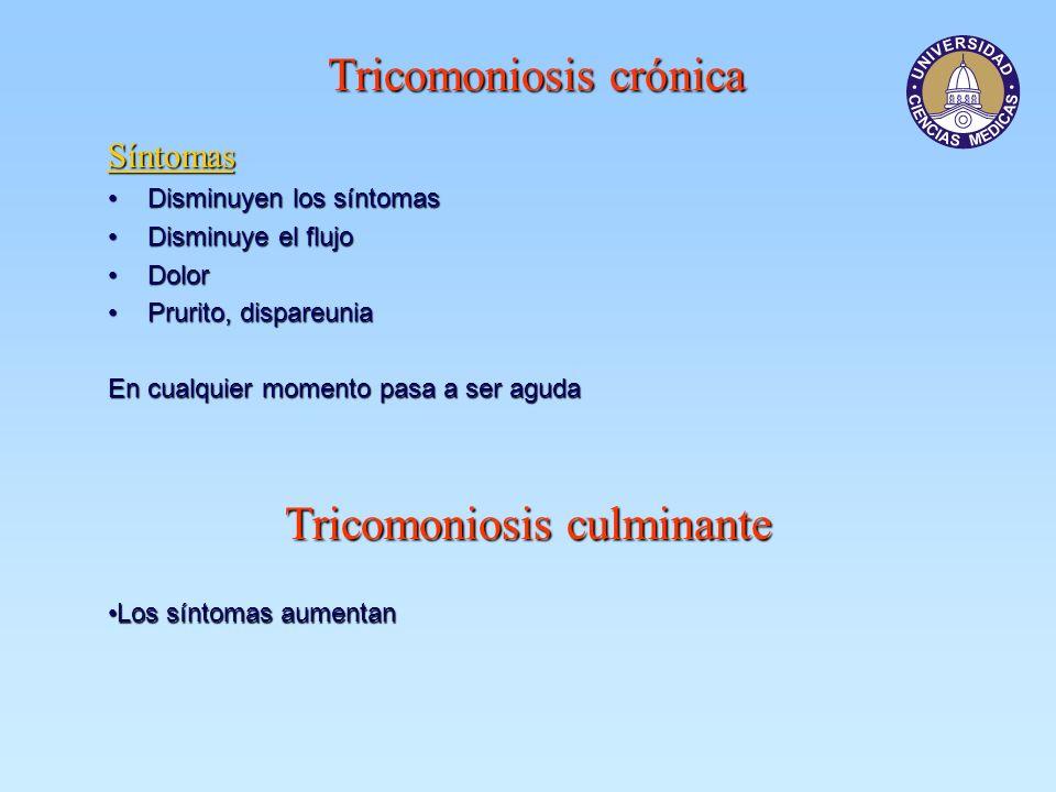Tricomoniosis crónica Síntomas Disminuyen los síntomasDisminuyen los síntomas Disminuye el flujoDisminuye el flujo DolorDolor Prurito, dispareuniaPrur