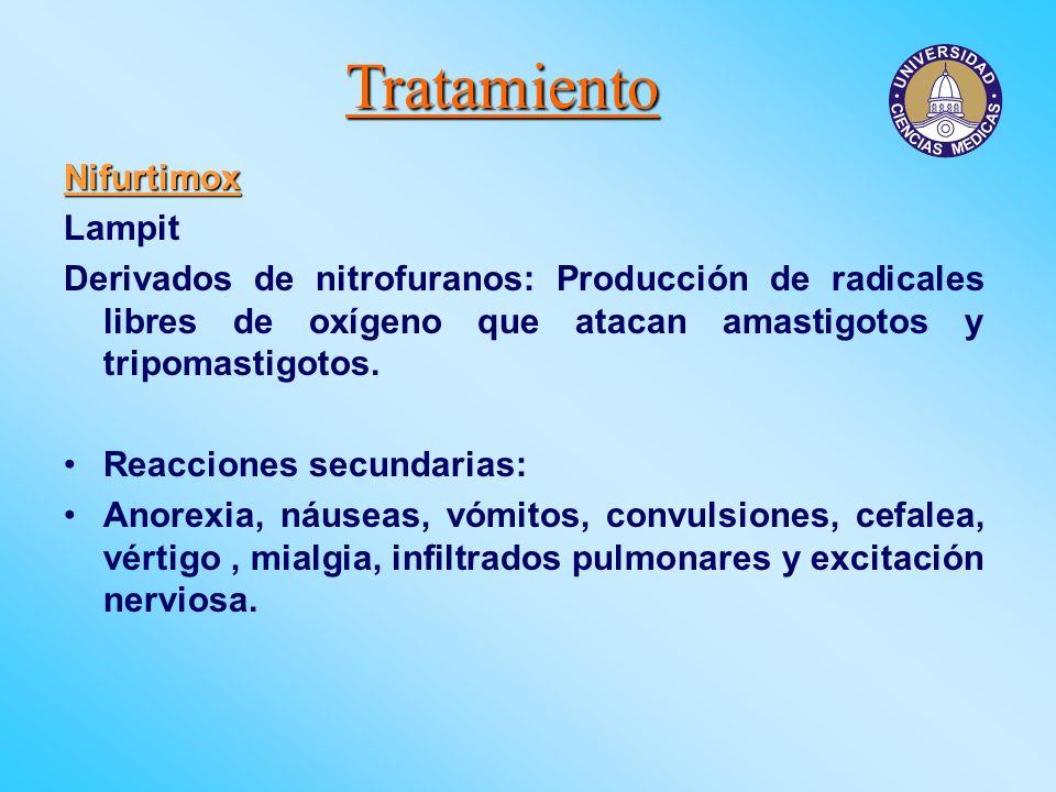 Tratamiento Nifurtimox Lampit Derivados de nitrofuranos: Producción de radicales libres de oxígeno que atacan amastigotos y tripomastigotos. Reaccione
