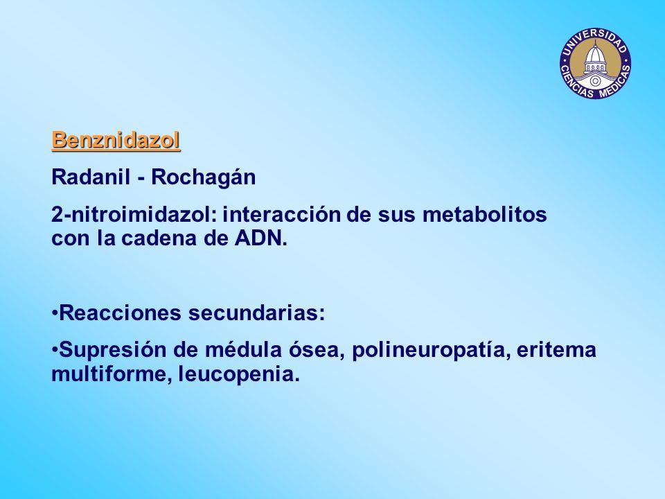 Benznidazol Radanil - Rochagán 2-nitroimidazol: interacción de sus metabolitos con la cadena de ADN. Reacciones secundarias: Supresión de médula ósea,