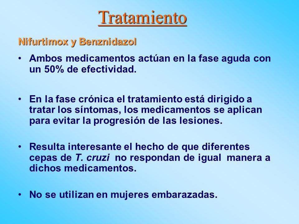 Tratamiento Nifurtimox y Benznidazol Ambos medicamentos actúan en la fase aguda con un 50% de efectividad. En la fase crónica el tratamiento está diri