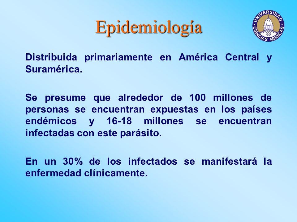 Epidemiología Distribuida primariamente en América Central y Suramérica. Se presume que alrededor de 100 millones de personas se encuentran expuestas