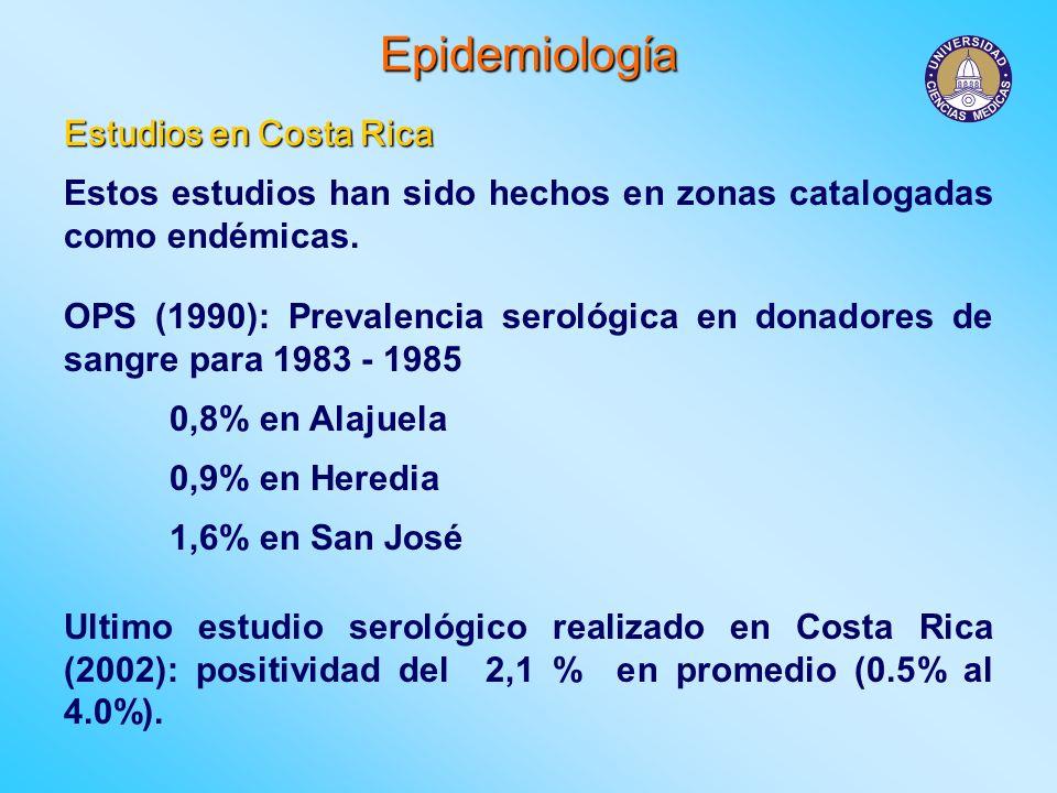 Epidemiología Estudios en Costa Rica Estos estudios han sido hechos en zonas catalogadas como endémicas. OPS (1990): Prevalencia serológica en donador