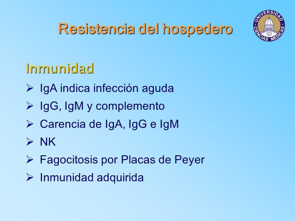 Resistencia del hospedero Inmunidad Ø IgA indica infección aguda Ø IgG, IgM y complemento Ø Carencia de IgA, IgG e IgM Ø NK Ø Fagocitosis por Placas d