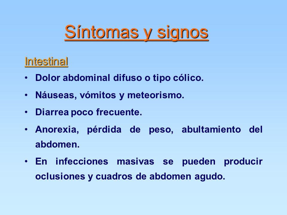 Intestinal Dolor abdominal difuso o tipo cólico.Náuseas, vómitos y meteorismo.