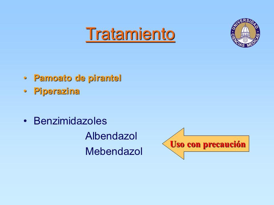 Tratamiento Pamoato de pirantelPamoato de pirantel PiperazinaPiperazina Benzimidazoles Albendazol Mebendazol Uso con precaución