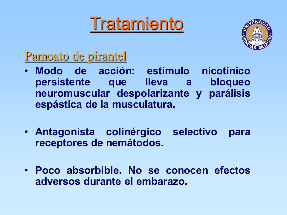 Tratamiento Pamoato de pirantel Modo de acción: estímulo nicotínico persistente que lleva a bloqueo neuromuscular despolarizante y parálisis espástica de la musculatura.