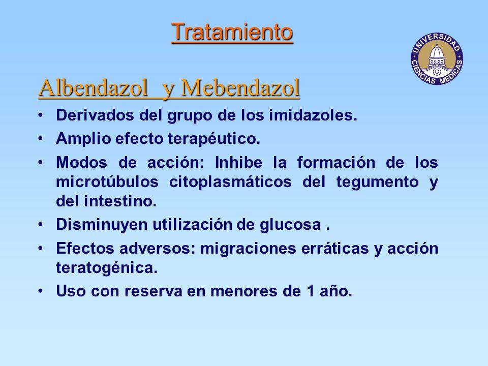Albendazol y Mebendazol Derivados del grupo de los imidazoles.