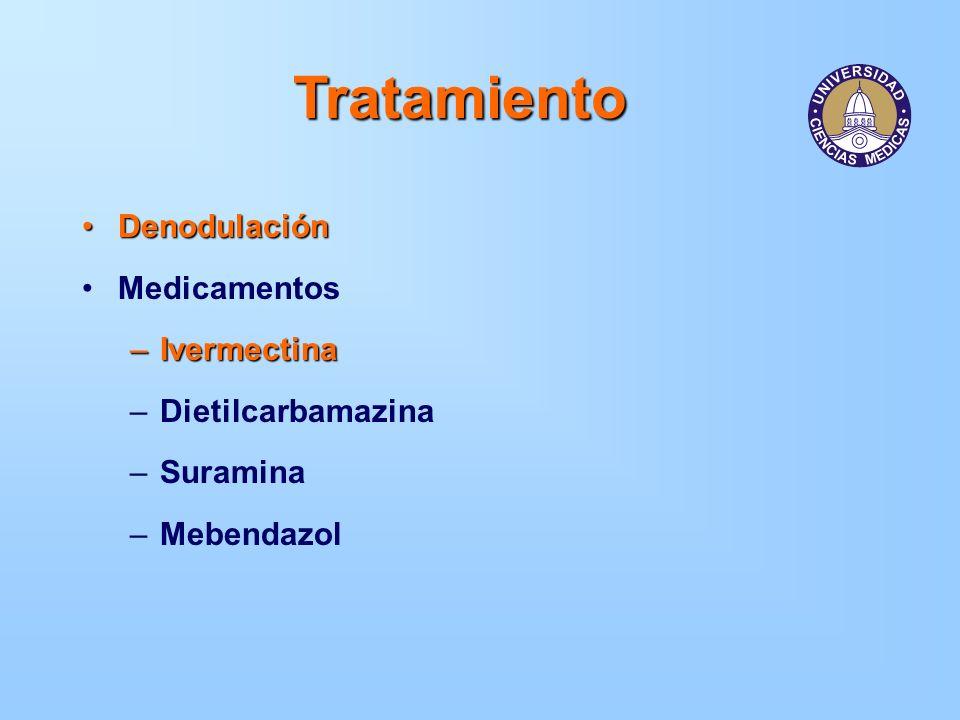 Tratamiento DenodulaciónDenodulación Medicamentos –Ivermectina –Dietilcarbamazina –Suramina –Mebendazol