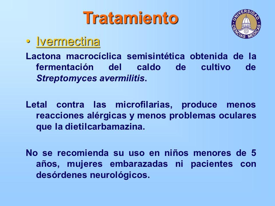 Tratamiento IvermectinaIvermectina Lactona macrocíclica semisintética obtenida de la fermentación del caldo de cultivo de Streptomyces avermilitis. Le