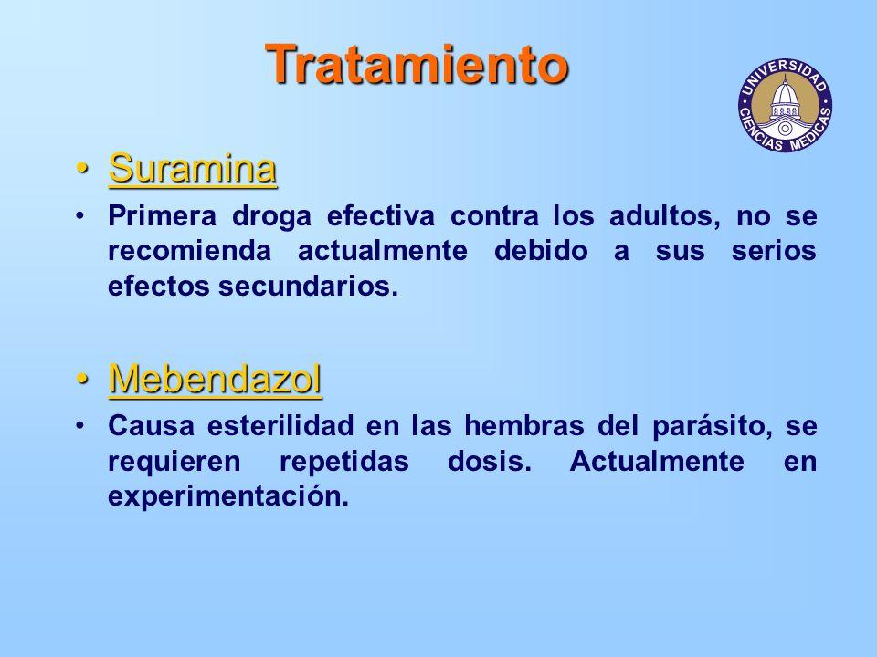 Tratamiento SuraminaSuramina Primera droga efectiva contra los adultos, no se recomienda actualmente debido a sus serios efectos secundarios. Mebendaz
