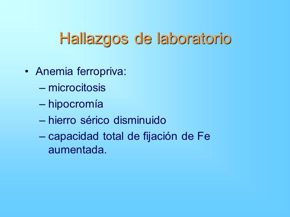 Hallazgos de laboratorio Anemia ferropriva: –microcitosis –hipocromía –hierro sérico disminuido –capacidad total de fijación de Fe aumentada.