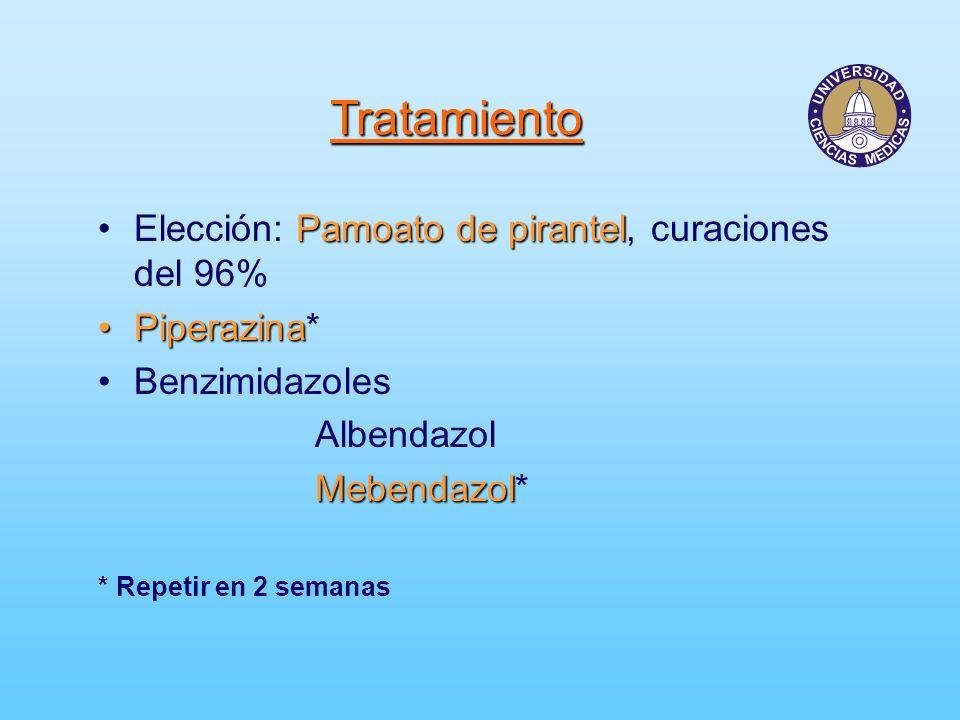 Tratamiento Pamoato de pirantelElección: Pamoato de pirantel, curaciones del 96% PiperazinaPiperazina* Benzimidazoles Albendazol Mebendazol Mebendazol