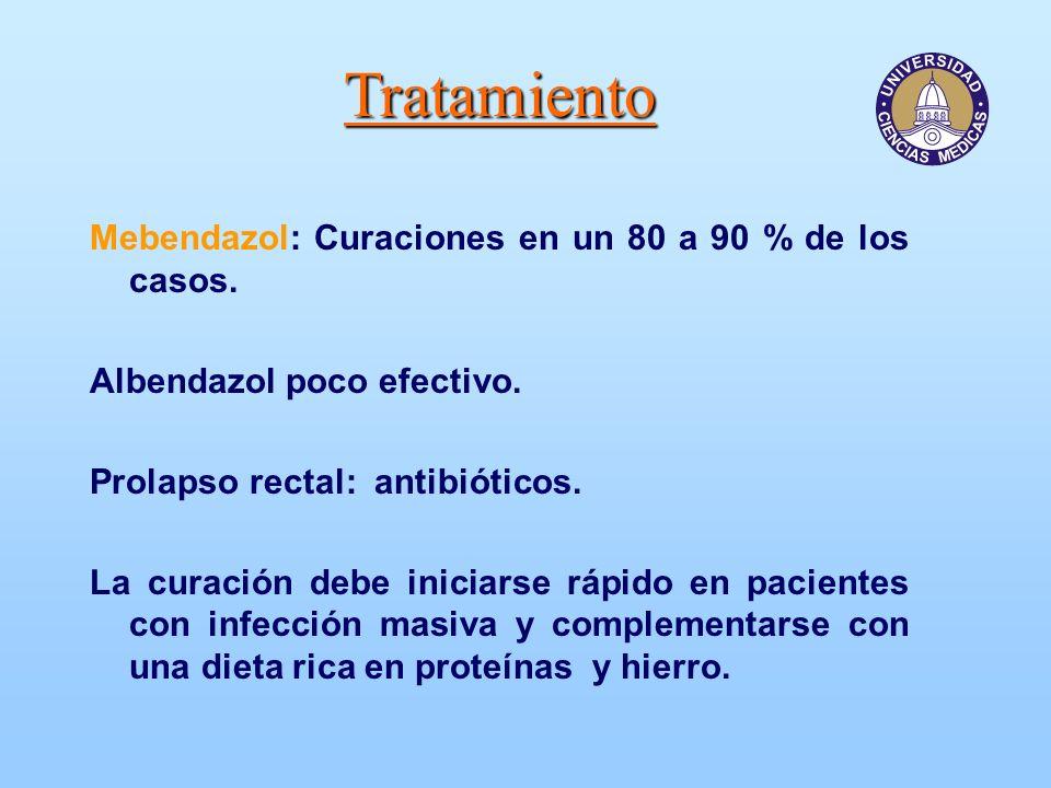 Tratamiento Mebendazol: Curaciones en un 80 a 90 % de los casos. Albendazol poco efectivo. Prolapso rectal: antibióticos. La curación debe iniciarse r