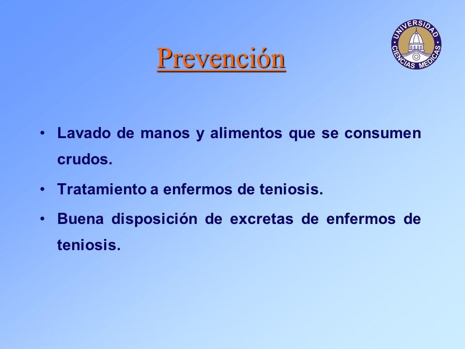 Prevención Lavado de manos y alimentos que se consumen crudos. Tratamiento a enfermos de teniosis. Buena disposición de excretas de enfermos de tenios